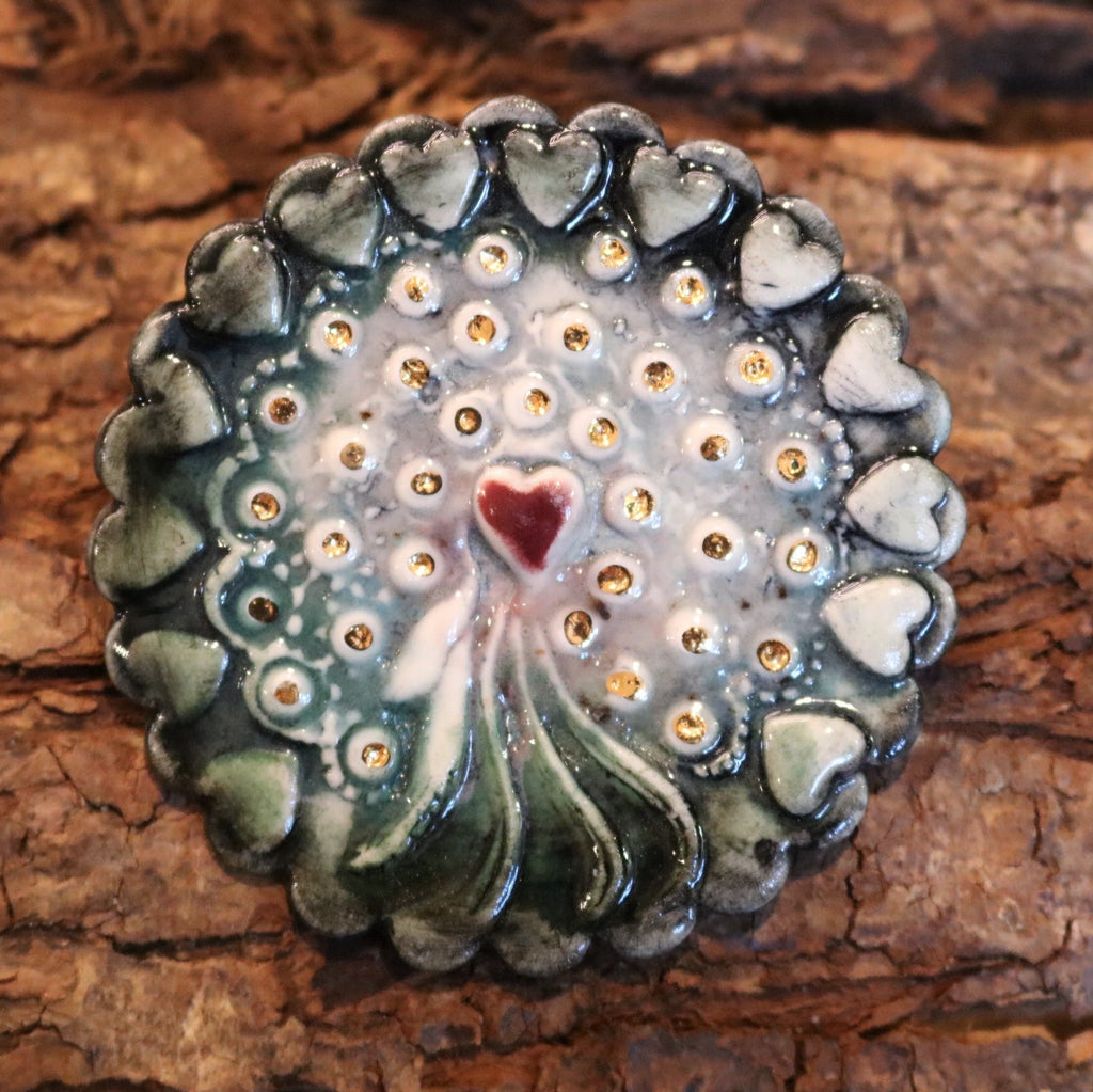 Helen Shearer Ceramic Brooch - Round Heart