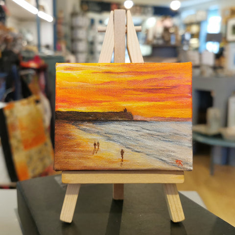 Portstewart strand sunset Original Mini Easel
