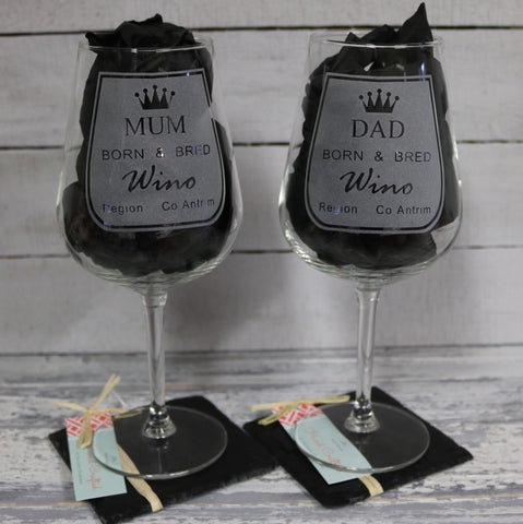 "Mum & Dad  ""Born and Bred Wino' Wine Glass and Coaster Set"