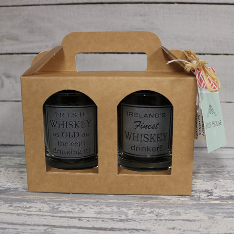 Whiskey Glass and Slate Coaster Boxed Gift Set