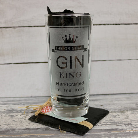 """Gin King"" Glass and Slate Coaster Set"