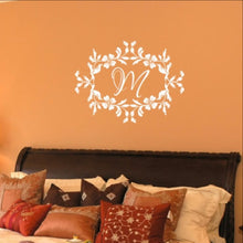 Load image into Gallery viewer, Floral Frame With Script Monogram Vinyl Wall Decal 22534 - Cuttin' Up Custom Die Cuts - 1