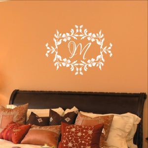 Floral Frame With Script Monogram Vinyl Wall Decal 22534 - Cuttin' Up Custom Die Cuts - 1
