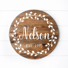 "Load image into Gallery viewer, Wreath With Name Round Sign 12"" Dark Walnut Stain White Lettering"
