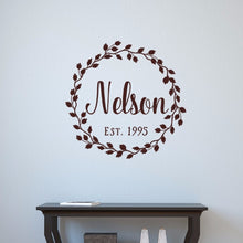 Load image into Gallery viewer, Last Name Vine Wreath With Established Date Vinyl Wall Decal 22601