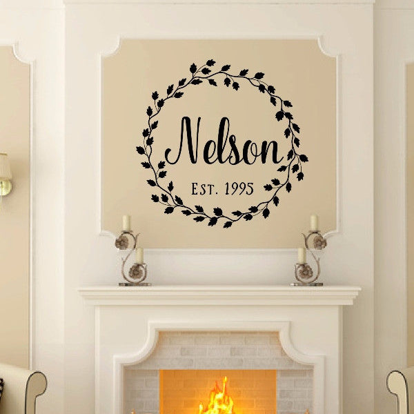 Last Name Vine Wreath With Established Date Vinyl Wall Decal 22601