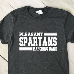 Custom Marching Band Team Mascot T Shirt With Line Graphics Dark Heather Gray Shirt White Lettering