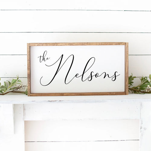 Last Name Script Hand Painted Custom Wooden Sign White Board Black Letters