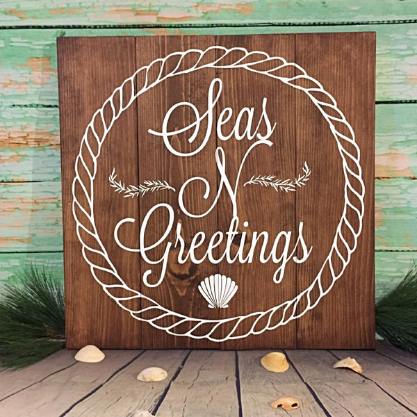 Seas N Greetings Large Hand Painted Wood Sign