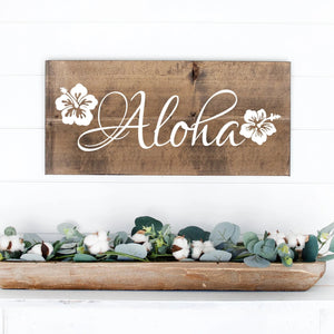 Aloha Hand Painted Wood Sign Dark Walnut Stain White Lettering