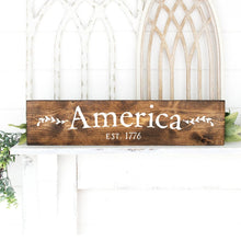 Load image into Gallery viewer, America Established 1776 Wood Sign Dark Walnut White Letters
