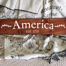 Load image into Gallery viewer, America Est 1776 Painted Wood Sign