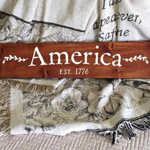 America Est 1776 Painted Wood Sign