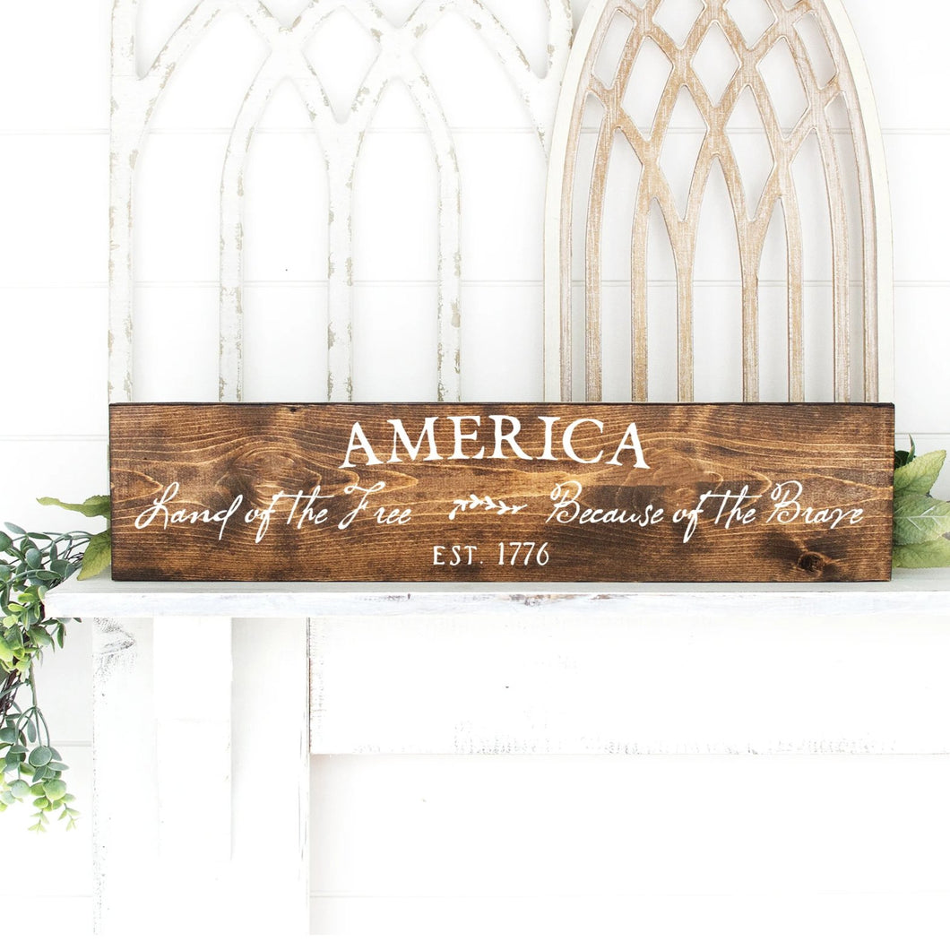 America Land Of The Free Sign Dark Walnut White Letters