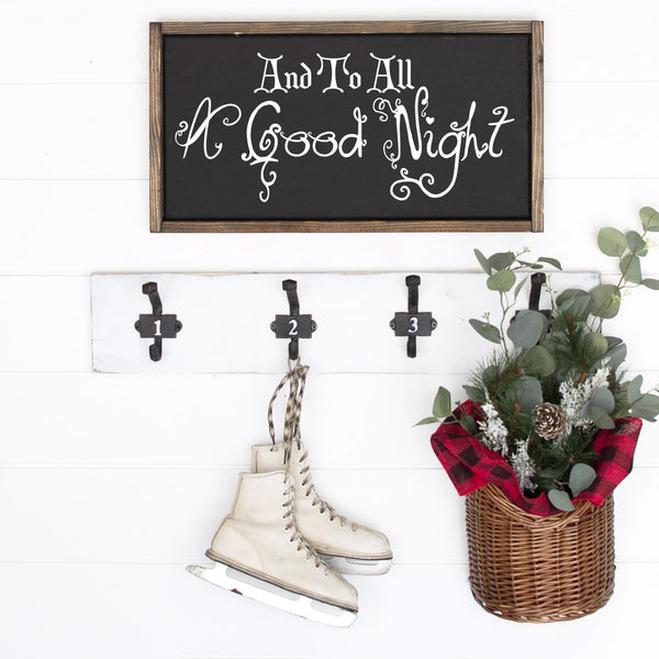 And To All A Good Night Painted Wood Sign Black Board White Letters Framed