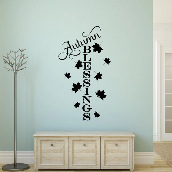 Autumn Blessings Vinyl Wall Decal Black