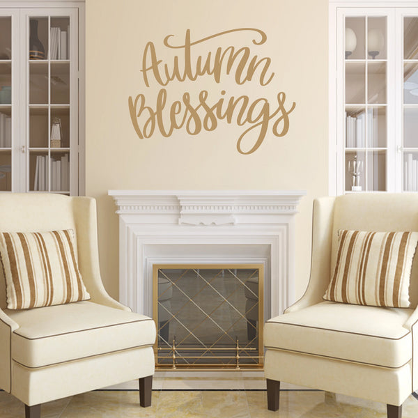 Autumn Blessings Vinyl Wall Decal Light Brown