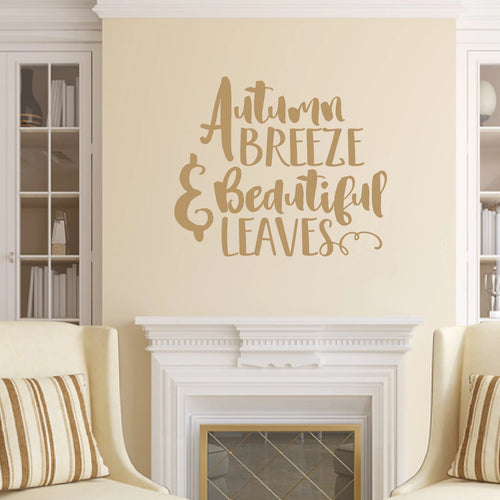 Autumn Breeze And Beautiful Leaves Vinyl Wall Decal Light Brown