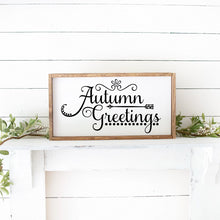 Load image into Gallery viewer, Autumn Greetings Hand Painted Wood Framed Sign White Board Black Lettering