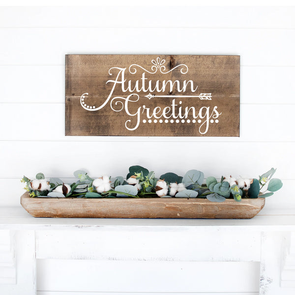 Autumn Greetings Hand Painted Wood Sign Dark Walnut Board White Lettering
