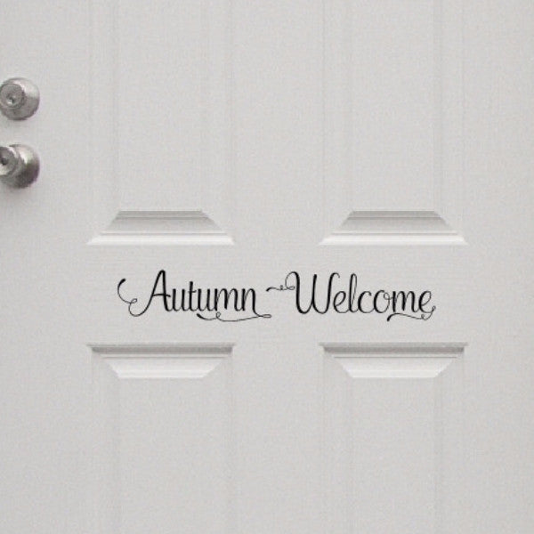 Autumn Welcome Removable Vinyl Door Decal 22581