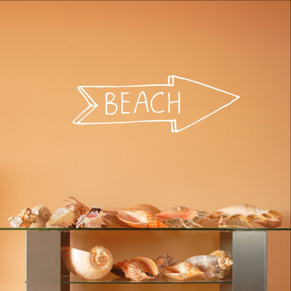 Beach Arrow Chalkboard Style Sign Vinyl Wall Decal 22582 - Cuttin' Up Custom Die Cuts - 1