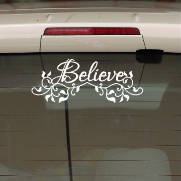 Believe with Vines Christian Vinyl Car Decal 22558 - Cuttin' Up Custom Die Cuts