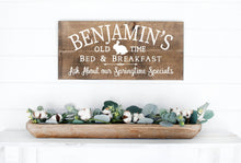 Load image into Gallery viewer, Benjamins Old Time Bed And Breakfast Painted Wood Sign Dark Walnut