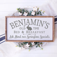 Load image into Gallery viewer, Benjamins Old Time Bed And Breakfast Painted Wood Sign White