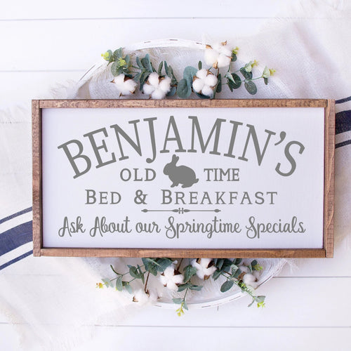 Benjamins Old Time Bed And Breakfast Painted Wood Sign White