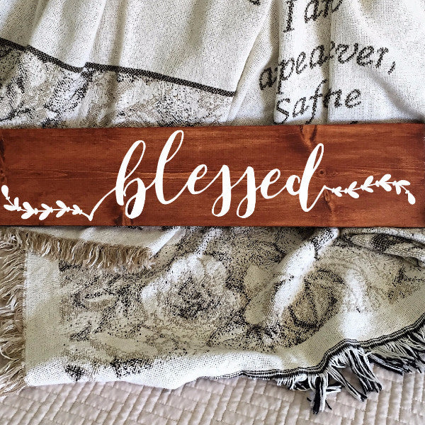 Blessed Painted Wood Sign