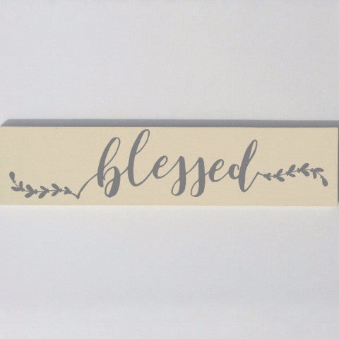 Blessed Painted Wood Sign Gray And Cream