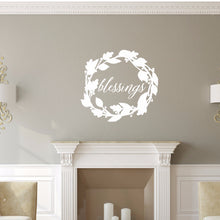 Load image into Gallery viewer, Blessings Script With Wreath Vinyl Wall Decal 22588