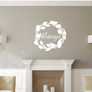 Blessings Script With Wreath Vinyl Wall Decal 22588