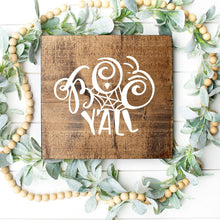 Load image into Gallery viewer, Boo Y'All Hand Painted Wood Sign Dark Walnut Board White Letters