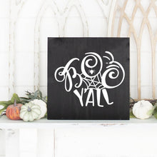 Load image into Gallery viewer, Boo Y'All Hand Painted Wood Sign Black Board White Letters