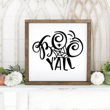 Load image into Gallery viewer, Boo Y'All Hand Painted Framed Wood Sign Small White Board Black Letters