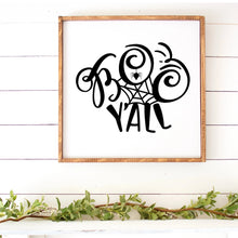 Load image into Gallery viewer, Boo Y'All Hand Painted Framed Wood Sign Large White Board Black Letters