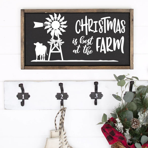 Christmas Is Best On The Farm Painted Wood Sign Black Board White Image