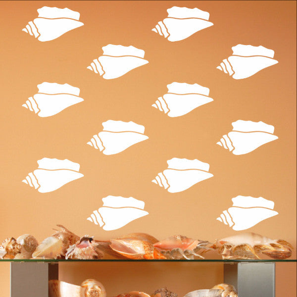 "Conch Sea Shells Vinyl Wall Decals - Set of 3.5"" Inch Conch Shell Decals 22578 - Cuttin' Up Custom Die Cuts - 1"