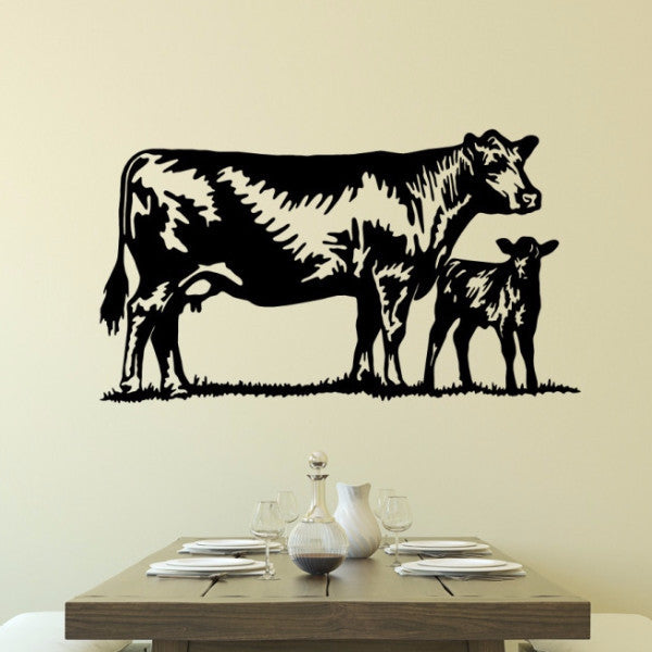 Cow and Calf Farmhouse Style Vinyl Wall Decal 22600