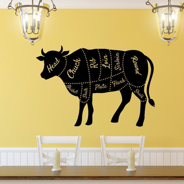 Cow Butcher Shop Diagram Vinyl Wall Decal 22599