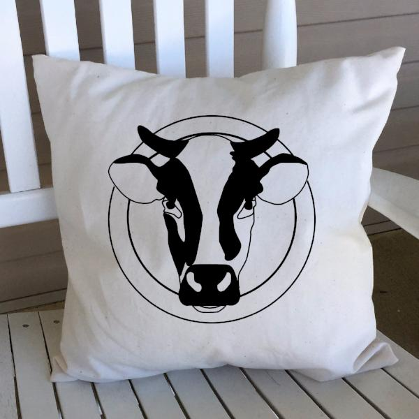 Cow Head Pillow Cover Black Lettering