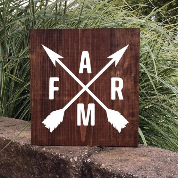 Crossed Arrows and Farm Painted Sign