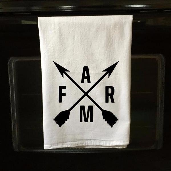 Crossed Arrows With Farm Flour Sack Towel