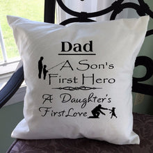 Load image into Gallery viewer, Dad Saying Throw Pillow Cover Black Text