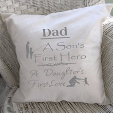 Load image into Gallery viewer, Dad Saying Throw Pillow Cover Gray Text