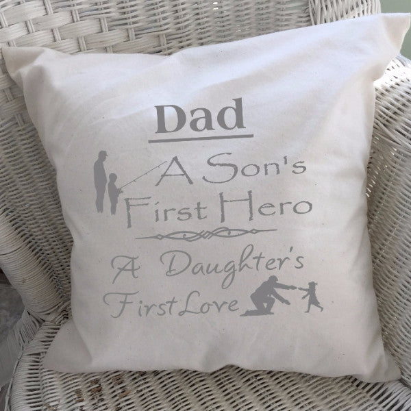 Dad Saying Throw Pillow Cover Gray Text