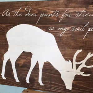 Deer With Psalm 42 Bible Verse Hand Painted Wood Sign