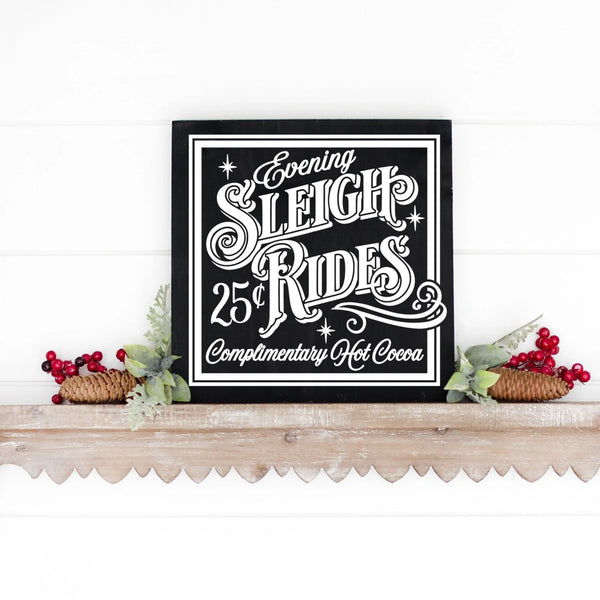 Evening Sleigh Rides Handed Painted Wood Christmas Sign Black Board White Letters